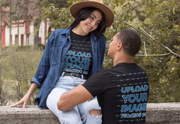Black T-Shirt Mockup Front and Back