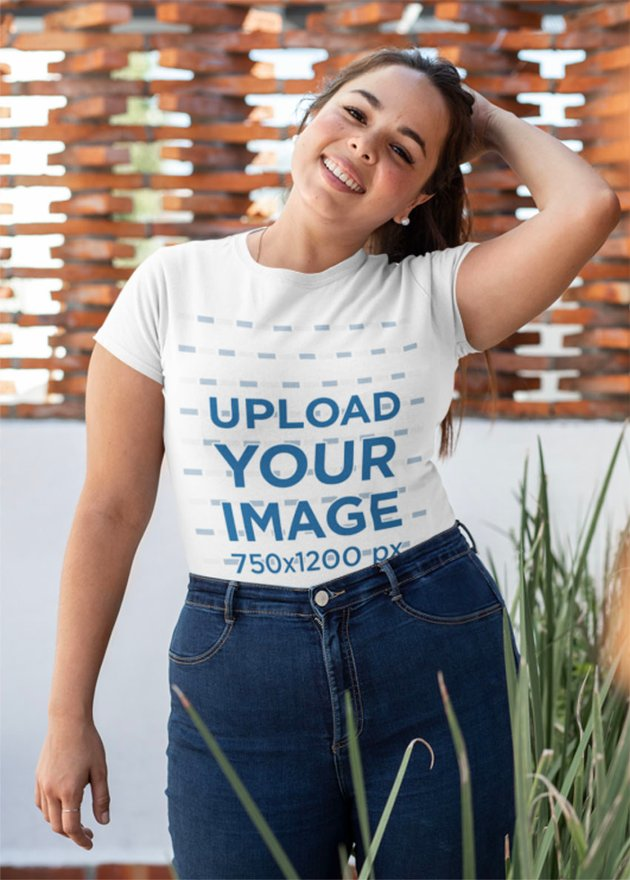 Plus Size T-Shirt Mockup of a Happy Woman in Her Patio