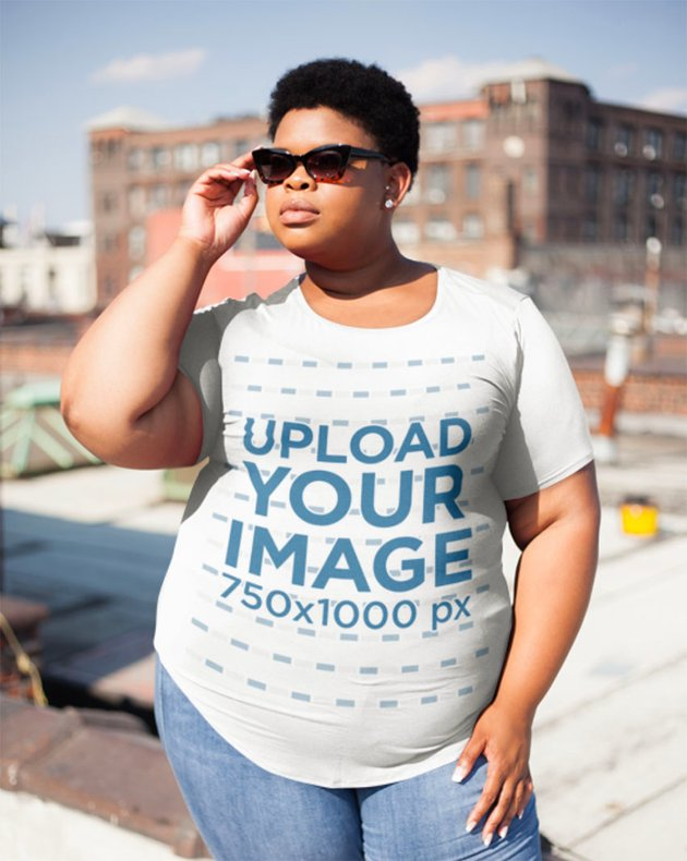White Shirt Women's Plus Size Mockup on New York City Rooftop