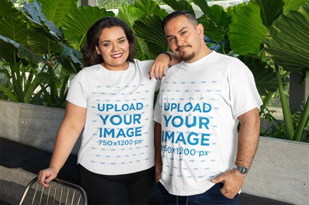 White Shirt Women's Plus Size Mockup Template with Two Friends