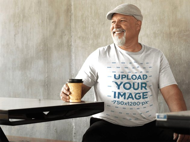 T-Shirt Mockup Size Template of an Elder Man Sitting in an Outside Space