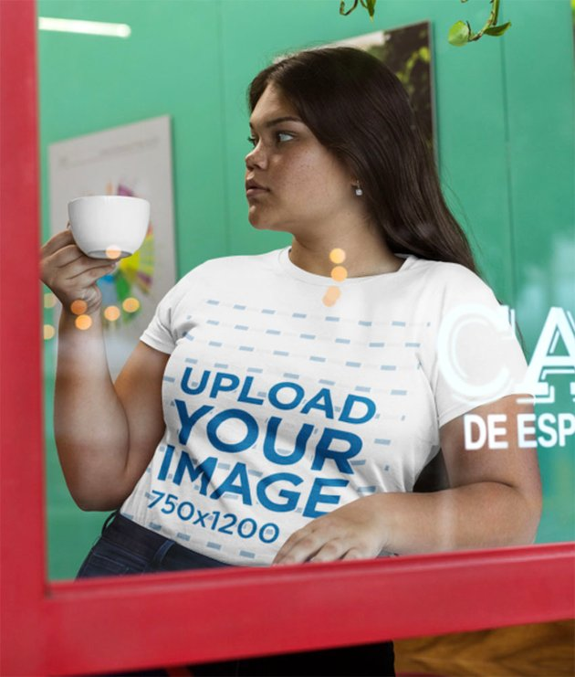Plus Size T-Shirt Mockup with Woman Through Window