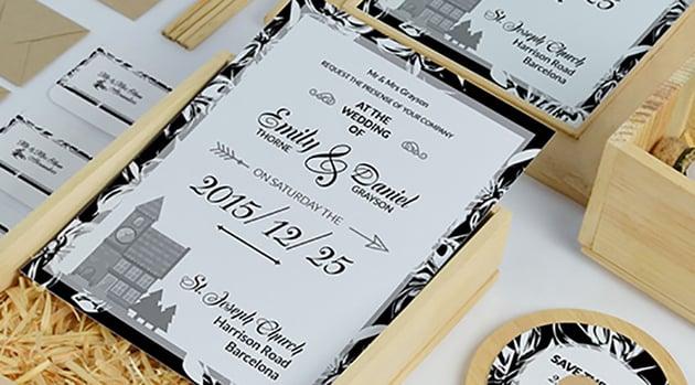 Black & White Wedding Invitation Pack