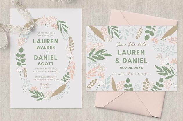 Sweet Wreath Wedding Invitation Suite