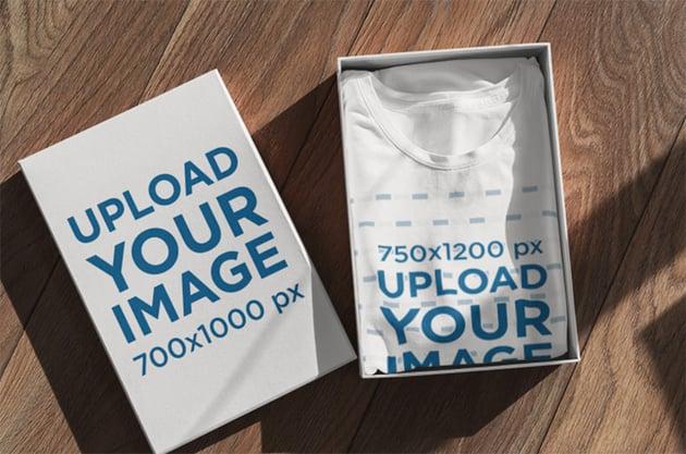 Mockup of a Folded T-Shirt Inside a Box