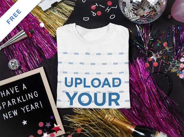 Mockup of a Folded T-Shirt Surrounded by New Year's Party Items