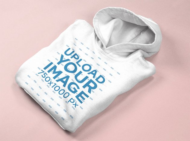 Pullover Hoodie Mockup Lying Folded on a Solid Surface