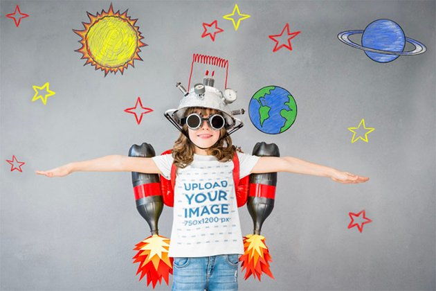 Youth T-Shirt Mockup of a Playful Girl with a Handmade Jetpack