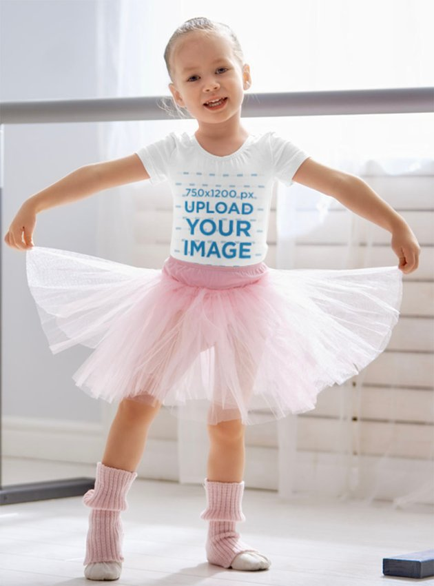 Kids White T-Shirt Mockup of a Little Ballerina with a Tutu