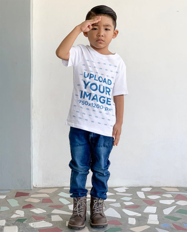 T-Shirt Kid Mockup of a Little Boy Doing a Soldier Salute