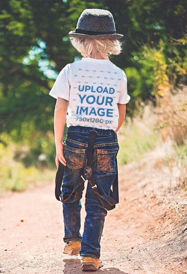 Back View Mockup of a Kid Wearing a T-Shirt and Walking in Nature