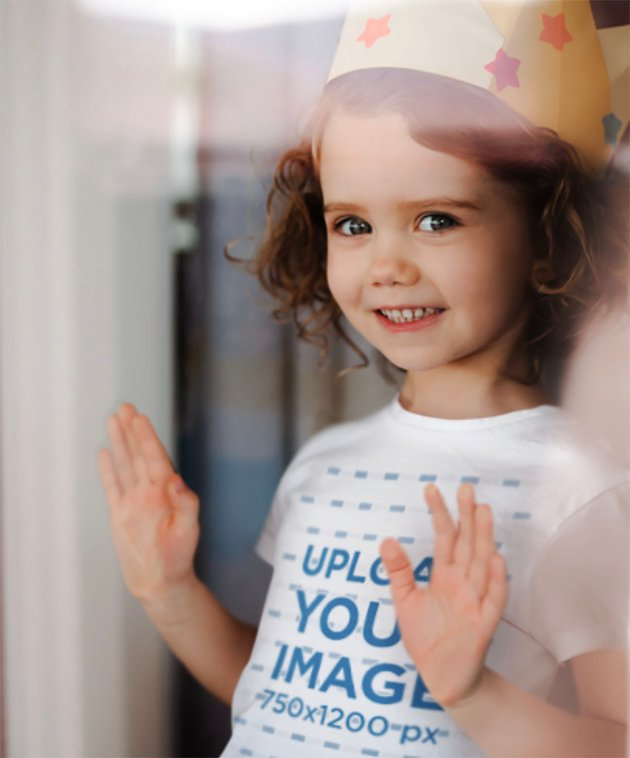 Kids Shirt Mockup of a Little Girl with a Paper Crown