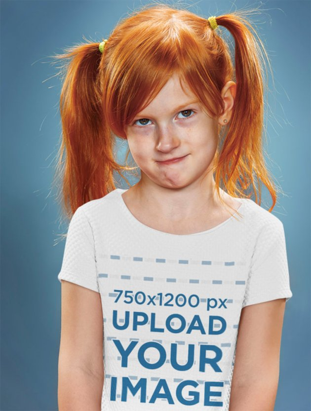Child Shirt Mockup of a Red-Hair Girl Doing a Funny Face