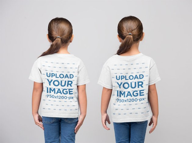 Back View Kids T-Shirt Mockup with Two Little Girls in a Studio