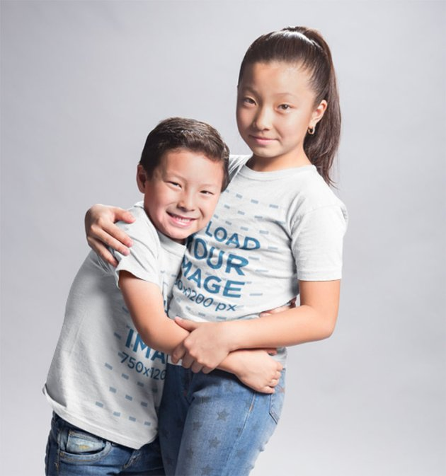 Kids T-Shirt Mockup with Siblings