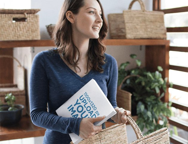 Book Mockup Design with Woman Holding a Basket