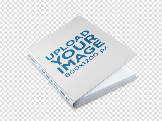 Hardcover Book Mockup on a Transparent Surface