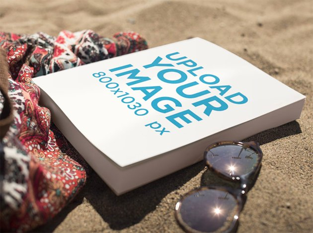 Book Cover Mockup with Book at Beach