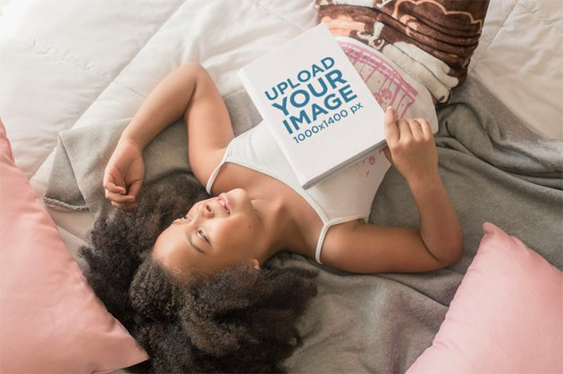 Book Cover Mockup of Girl Lying on Her Bed