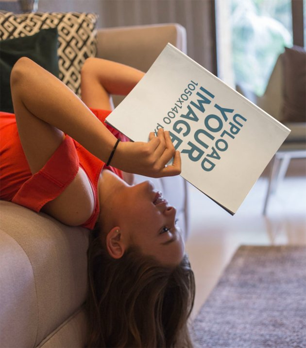 Girl Reading a Book Cover Mockup Upside Down