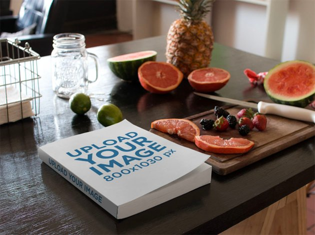 Book Mockup Design with Book Lying on a Kitchen Table