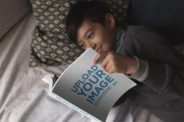 Square Book Mockup with Happy Kid Reading a Book