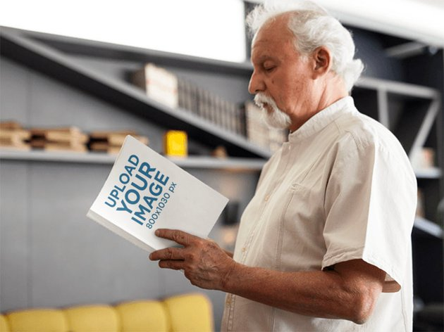 Book Cover Mockup with Older Man Reading