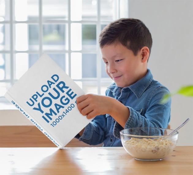 Hardcover Book Mockup of Boy Reading