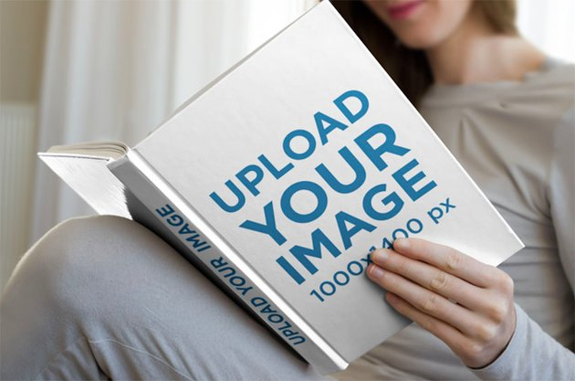 Hardcover Book Mockup of a Woman Reading