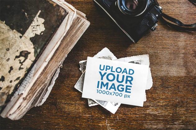 Vintage Postcard Stack Mockup