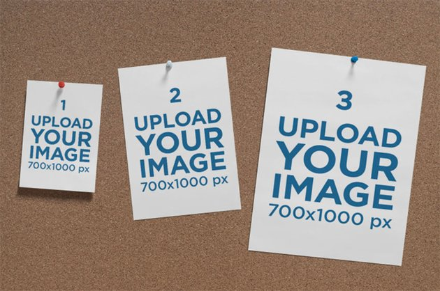A4, A5, and A6 Postcard Mockup Hanging on a Cork