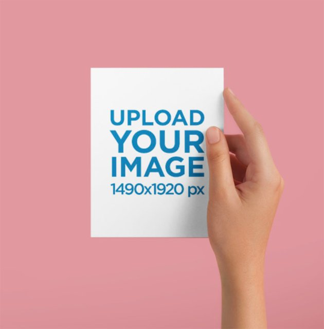 A6 Postcard Mockup Being Held Against a Solid Color Surface