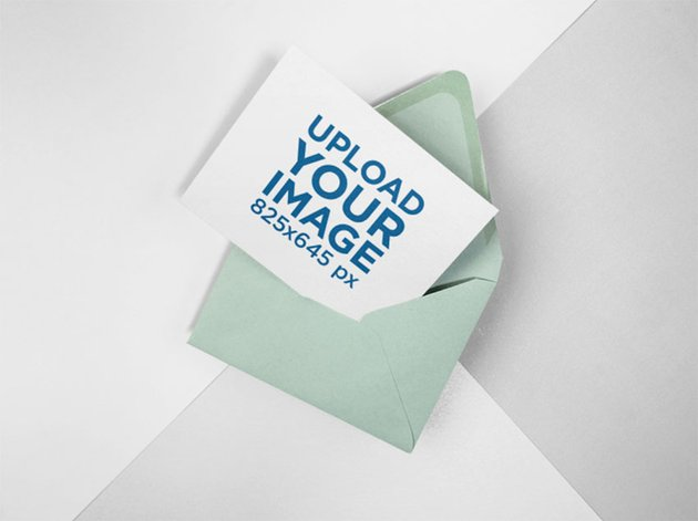 Direct Mail Mockup of Postcard Lying on a Three Colors Background