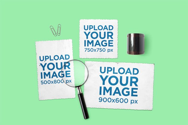 Three Vintage Postcards Design Mockup Placed by a Magnifying Glass