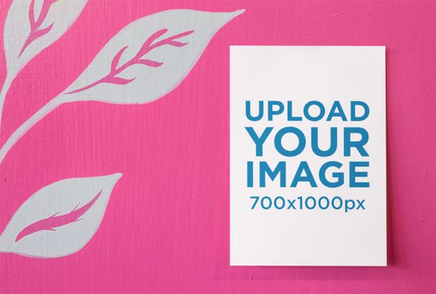 Direct Mail Mockup of Card  on a Vibrant Pink Surface