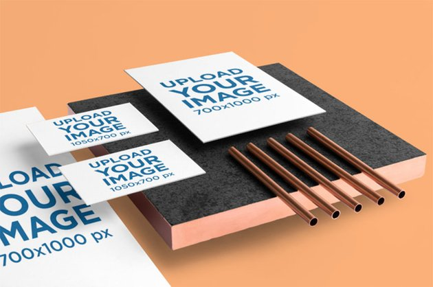 Stationery Mockup Featuring Copper Items and a Minimalistic Style