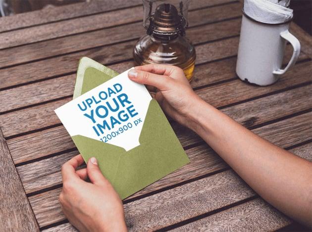 Postcard Design Mockup with Green Envelope