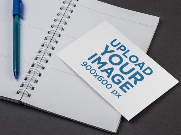 Postcard Design Mockup with Notebook