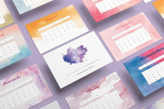 Handmade Watercolor Monthly Calendar