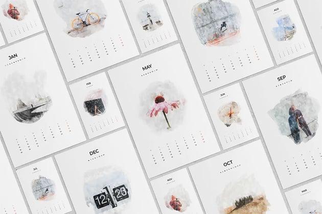 Watercolor Printable Monthly Calendar
