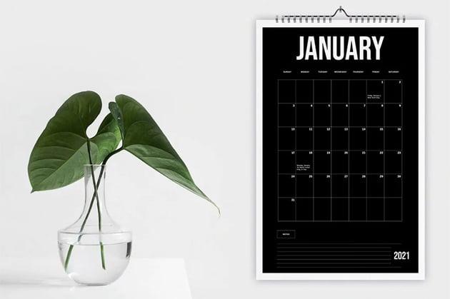 Black Wall Editable Calendar Template