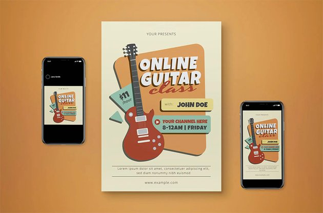 Online Guitar Music Lesson Flyer