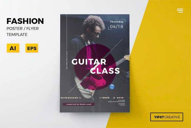 Flyer for Music Classes(PSD, Ai)