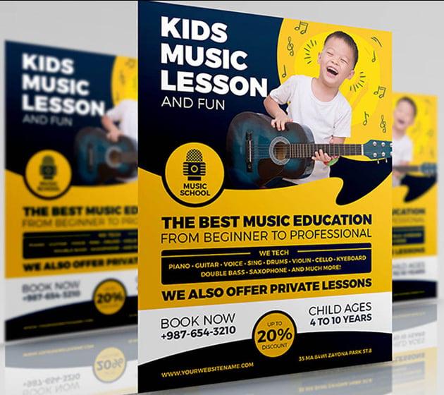 Kids Music Lesson Flyer Design