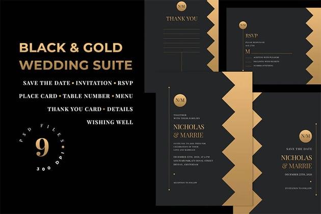 Black and Gold Design Blank Invitation Template