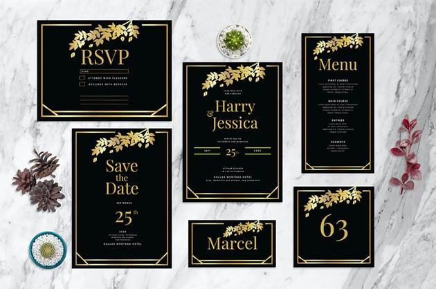 Black and Gold Wedding Invitation