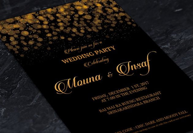 Wedding Black and Gold Invitation Template