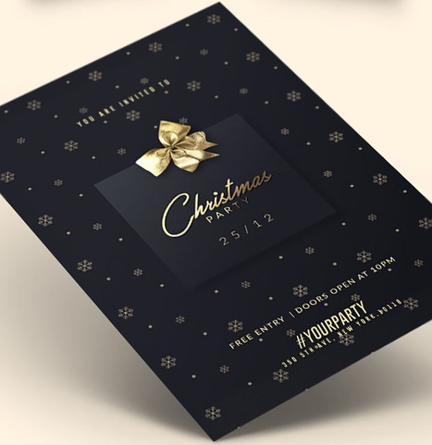 Christmas Party | Black and Gold Invitation Templates