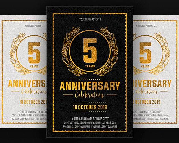 Black and Gold Anniversary Invitation