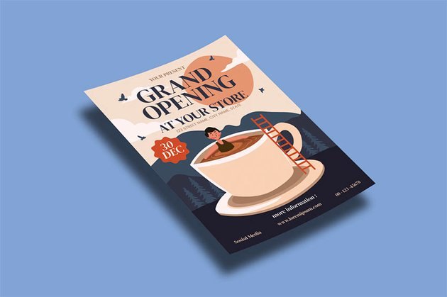 Coffee Shop Opening Flyers Template